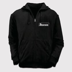Ibanez IBAH001-L Merchandise Hooded Sweater with logo on the left chest and artwork on the back.