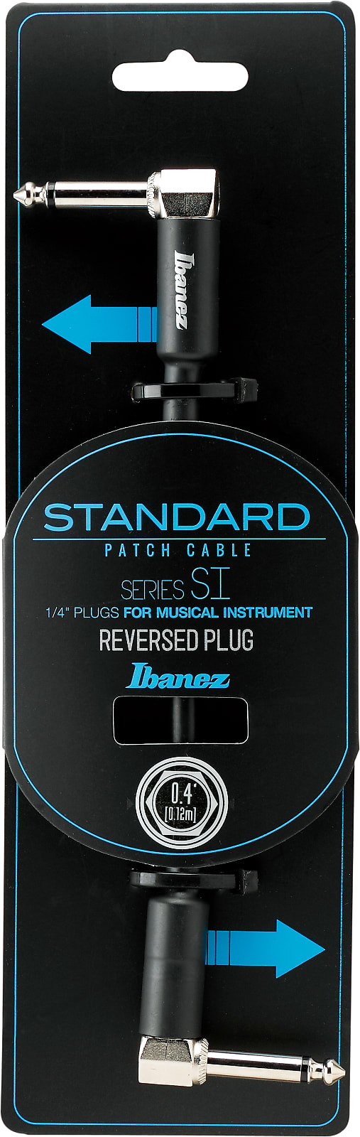 Ibanez SI04PR SI Series (Standard) Guitar Instrument Cable - - Right Angle / Reversed Right Angle Patch Cab