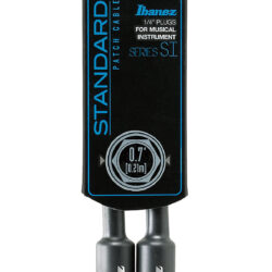 Ibanez SI07P Guitar Instrument Cable - 2 Right Angle plugs Patch Cable Male - Male, Black - 0,21 m / 0,7 ft